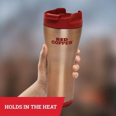 Red Copper Mug - Ceramic-lined, topple-proof travel mug for better-tasting coffee